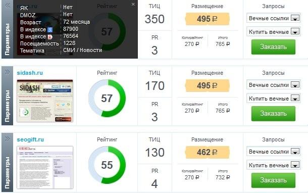 Найденные площадки в бирже Webartex для статейного продвижения